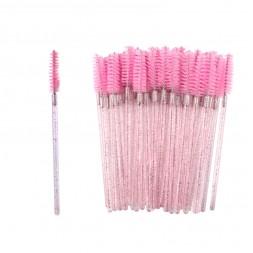 Щіточки для розчісування вій рожеві з блискітками, 50 шт. в упаковці