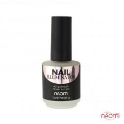 Иллюминатор для ногтей Naomi Nail Illuminator 01, белый микрошиммер, 15 мл