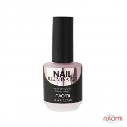 Иллюминатор для ногтей Naomi Nail Illuminator 02, светло-розовый микрошиммер, 15 мл