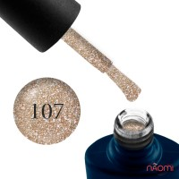 Гель-лак NUB 107 золотисто-бронзовые блестки, плотный, 8 мл