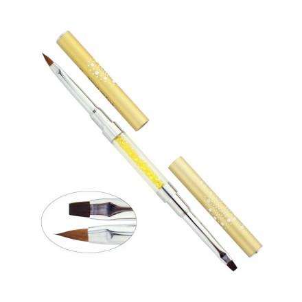 Кисть для геля и акрила 2, двусторонняя с кристаллами, цвет золото, искусственный ворс, фото 1, 135.00 грн.