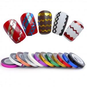 Стрічка-скотч для нігтів, зигзаги, колір фіолетовий, 5 мм