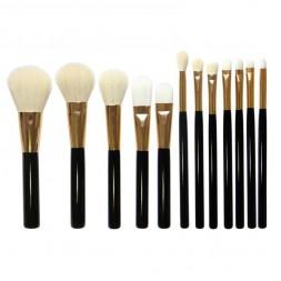 Набор кистей для макияжа натуральный и искусственный ворс, 12 шт.
