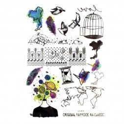 Наклейка для временного тату LC-873 Перья, птицы 15х21см