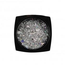 Декор для ногтей Starlet Professional блестки с конфетти № 14, цвет серебро с голограммой