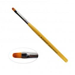 Пензель для гелю Starlet Professional Kolinsky № 4, овальний, з дерев'яною ручкою, штучний ворс