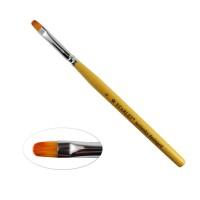 Пензель для гелю Starlet Professional Kolinsky № 6, овальний, з дерев'яною ручкою, штучний ворс