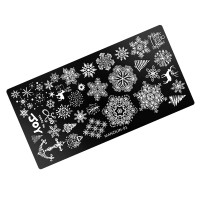 Пластина для стемпинга Manzilin -01 Joy, снежинки, Новый год
