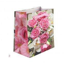 Пакет подарочный Цветы 8х10х4 см