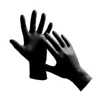 Перчатки нитриловые упаковка - 5 пар, размер M (без пудры), черные