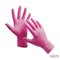 Перчатки нитриловые упаковка - 5 пар, размер M (без пудры), розовые
