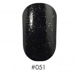 Лак Naomi 051 черный с блестками, 12 мл
