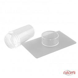Односторонній силіконовий штамп і скрапер для стемпінга, прозорий