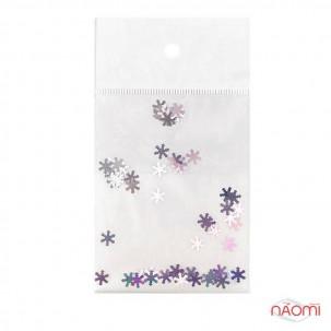 Декор для нігтів сніжинки, колір срібло