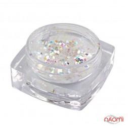 Декор для ногтей Salon Professional  Чешуя, цвет белый, средняя 040 C101
