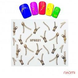 Наклейка на ногти YZW 6021 Змейки, цвет золото