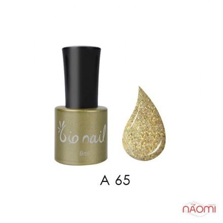 Гель лак BioNail A 065 Glisten Gold желто-салатовые с золотом блестки, 8 мл, фото 1, 194.00 грн.