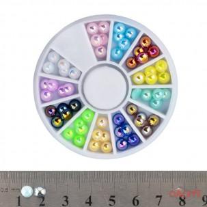 Декор для нігтів в контейнері & amp; quot; Карусель & amp; quot; полужемчуг (12 кольорів) 5 мм 60 шт.