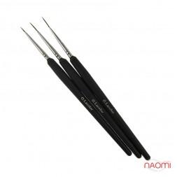 Набор кистей G. Lacolor для дизайна с черной ручкой (в наборе 3 шт.)