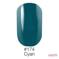 Гель-лак Naomi 174  Cyan зелёная бирюза с шиммерами, 6 мл