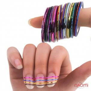 Стрічка-скотч для нігтів, колір рожево-фіолетовий, 1 мм