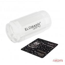 Односторонний силиконовый штамп и скрапер для стемпинга El Corazon № K-sst-10, прозрачный