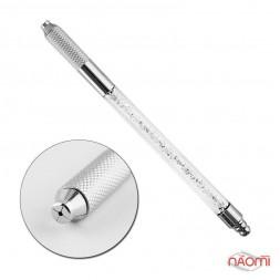 Ручка для микроблейдинга со стразами Swarovski пластиковая, цвет белый