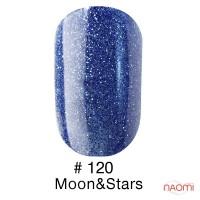 Гель-лак Naomi 120  Moon&Stars синий с шимерами, 6 мл