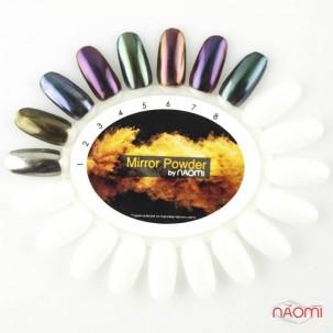 Зеркальная пудра для втирки Naomi 01, цвет серебро, 1 г