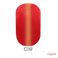 Гель-лак Naomi Cat Eyes С39 сочный малиновый с кораллвым бликом, с шиммерами, 6 мл