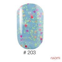 Гель-лак Naomi Candy Bar 203 голубая карамель с конфетти, 6 мл