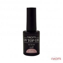 Топ для гель-лака без липкого слоя Naomi UV Top Gel No Wipe Pink, 12 мл