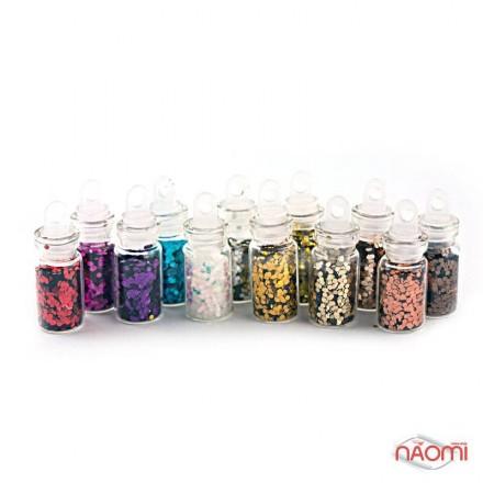 Набор декора для ногтей, чешуя в пробирке мелкая, в наборе 12 шт., фото 1, 64.00 грн.