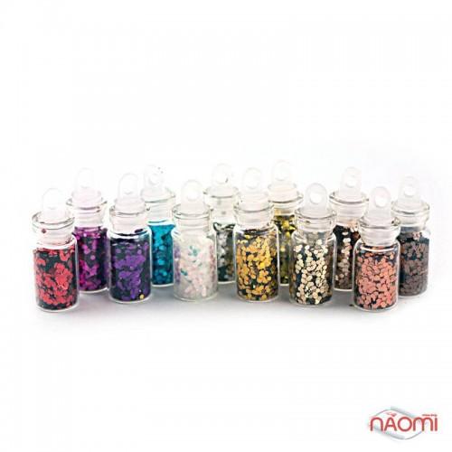 Набор декора для ногтей, чешуя в пробирке мелкая, в наборе 12 шт., фото 1, 99.00 грн.