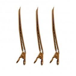 Затискач для волосся Salon Professional, металевий золотий, в наборі 3 шт.