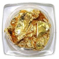 Фольга жатая, сусальное золото в баночке, цвет золото