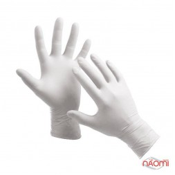 Перчатки латексные упаковка - 50 пар, размер M (без пудры), белые