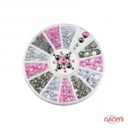 Декор для ногтей в контейнере Карусель розовые, белые, чёрные камни d=2-4 мм, 200 шт