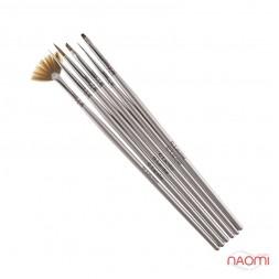 Набор кистей G. Lacolor для наращивания гелем и дизайна ногтей с серой ручкой (в наборе 6 шт.)