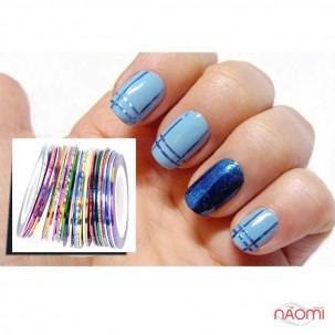 Стрічка-скотч для нігтів, колір синій, 1 мм