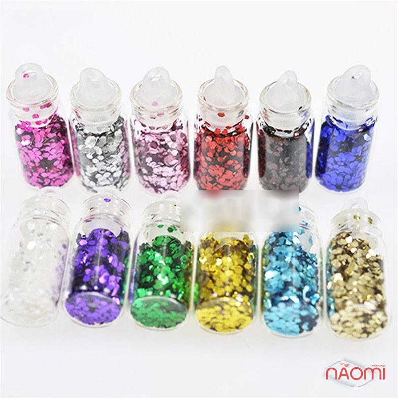 Набор декора для ногтей, чешуя в пробирке мелкая, в наборе 12 шт., фото 3, 99.00 грн.