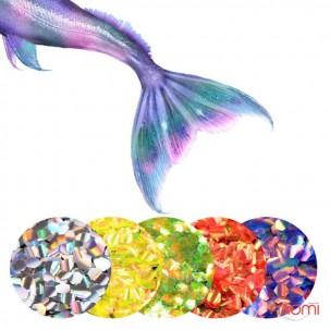 Декор для ногтей рыбья чешуя, цвет салатовый