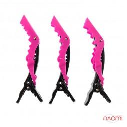 Затискач для волосся Salon Professional, професійний кольоровий чорний з рожевим в наборі 3 шт.