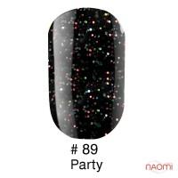 Гель-лак Naomi 089  Party чёрный с разноцветными блёстками, 6 мл