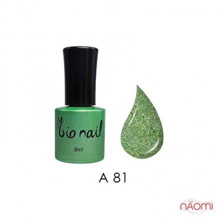 Гель лак BioNail A 081 Forest Wood зелено-салатовые блестки, 8 мл, фото 1, 194.00 грн.