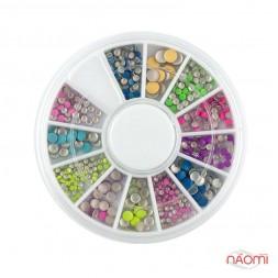 Декор для ногтей в контейнере Карусель металические заклепки, цветные