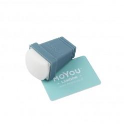 Односторонний силиконовый штамп и скрапер для стемпинга MoYou Rectengular, цвет серый