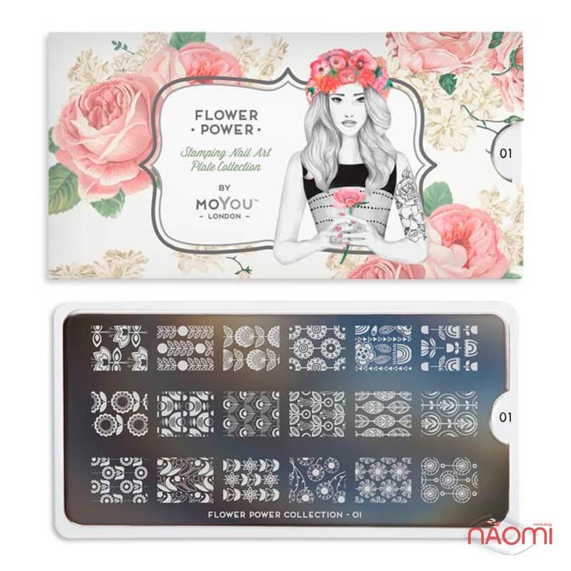 Пластина для стемпінга MoYou London серії Flower Power Collection 01 Ажур, квіти, фото 2, 225.00 грн.