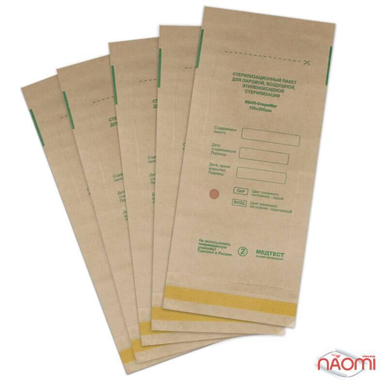 Крафт пакеты Медтест для паровой и воздушной стерилизации, 100х200 мм, 5 шт, фото 1, 9.00 грн.