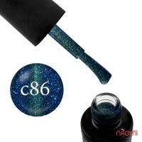 Гель-лак Naomi Cat Eyes С86 синий с бледно-салатовым бликом, 6 мл